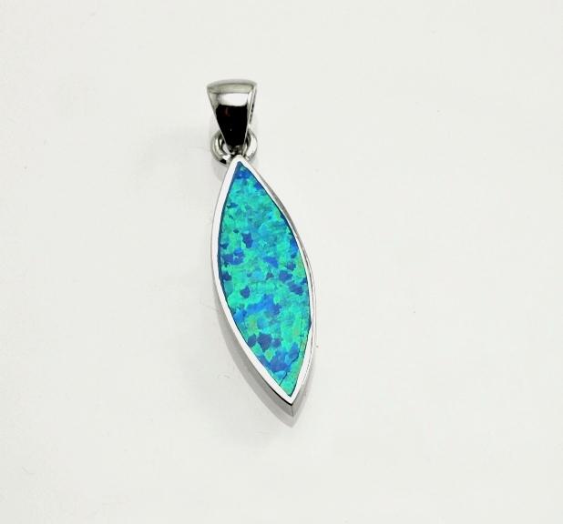 Stříbrný přívěsek Barbarelle,Modrý opál