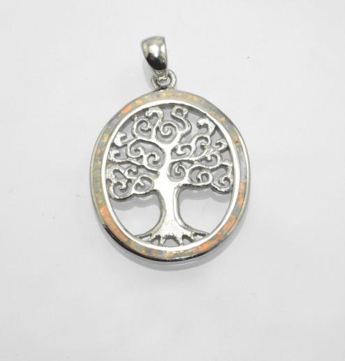 Stříbrný přívěsek Strom života s bílým Opálem