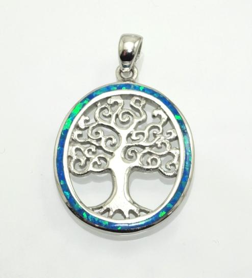 Stříbrný přívěsek Strom života s modrým Opálem