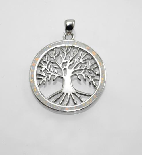 Stříbrný přívěsek, amulet Strom života s opálem