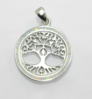 Stříbrný přívěsek Strom života No. 06, bílý Opál
