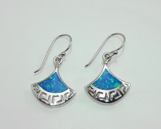 Stříbrné náušnice Agreco. Modrý Opál.Rhodium.