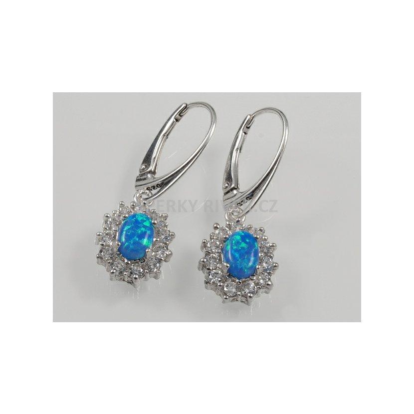 Stříbrné náušnice s umělým modrým Opálem Blanch No.01. Kombinované c ... b7b5e9d4f30